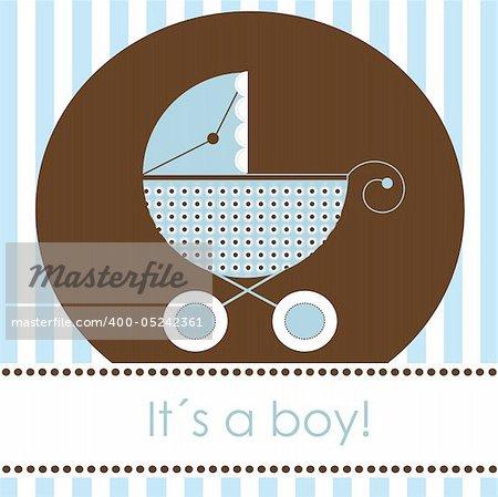 Baby boy arrival card, vector