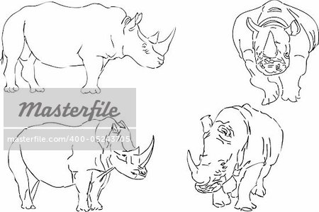 vector illustration black and white  sketch of rhino Stock Photo - Budget Royalty-Free, Image code: 400-05243705