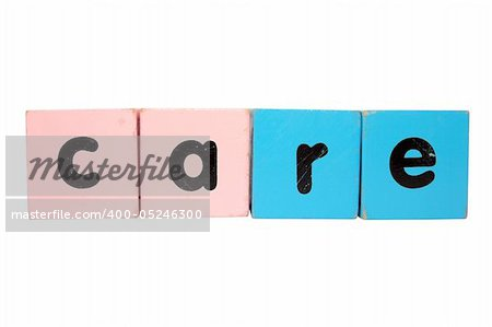 assorted childrens toy letter building blocks against a white background that spell care with clipping path Stock Photo - Budget Royalty-Free, Image code: 400-05246300
