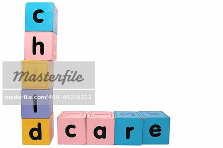 assorted childrens toy letter building blocks against a white background that spell childcare with clipping path Stock Photo - Budget Royalty-Free, Image code: 400-05246302