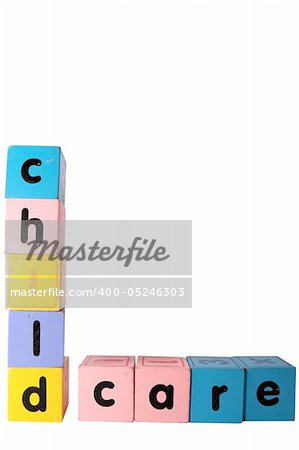 assorted childrens toy letter building blocks against a white background that spell childcare with clipping path Stock Photo - Budget Royalty-Free, Image code: 400-05246303