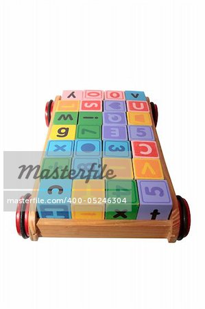 childrens toy letter building blocks all together in a toy cart isolated on white background with clipping path Stock Photo - Budget Royalty-Free, Image code: 400-05246304