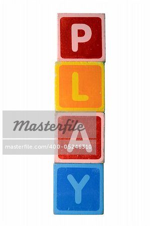 assorted childrens toy letter building blocks against a white background that spell play with clipping path Stock Photo - Budget Royalty-Free, Image code: 400-05246310