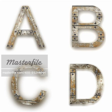 Wooden alphabet. A, B, C, D letter isolated on white - illustration Stock Photo - Budget Royalty-Free, Image code: 400-05249266