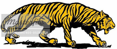Vector abstract illustration. The orange predatory tiger. Stock Photo - Budget Royalty-Free, Image code: 400-05250518