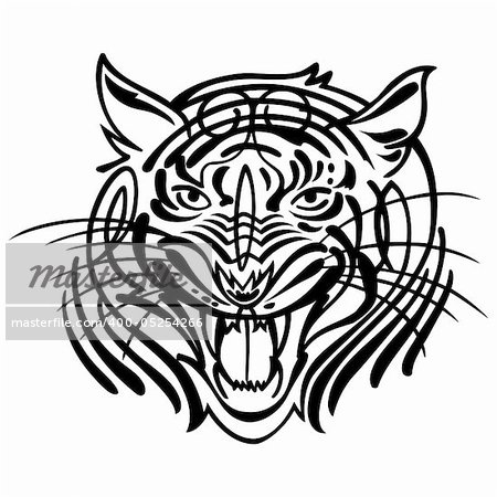 Head of an aggressive tiger. Vector illustration Stock Photo - Budget Royalty-Free, Image code: 400-05254266