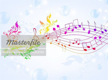 musical fantasy theme with bright rainbow notes and air bubble background, EPS10