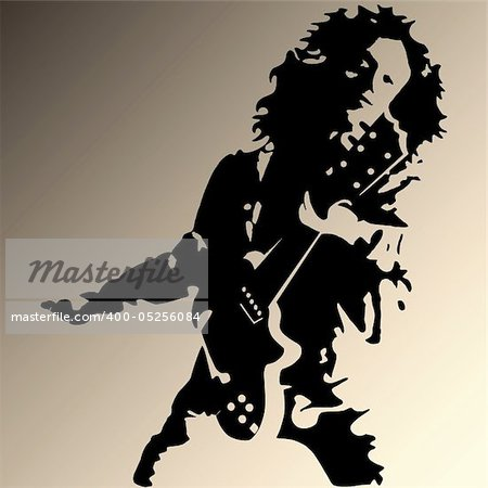 Vector illustration of rock guitar player Stock Photo - Budget Royalty-Free, Image code: 400-05256084