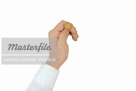 "Coin ""Fortune"" before throw, isolated on white. Photographed close-up. Stock Photo - Budget Royalty-Free, Image code: 400-05263010"