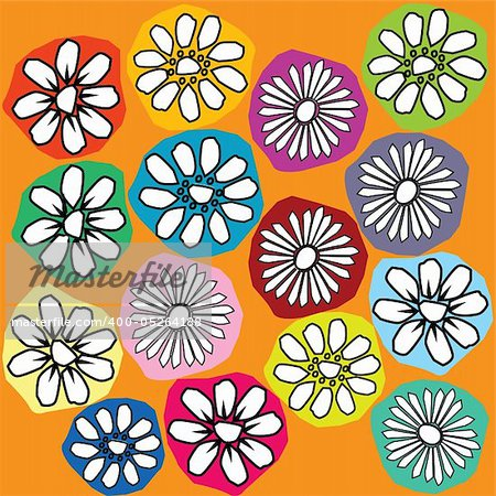 Background with white stylized flowers