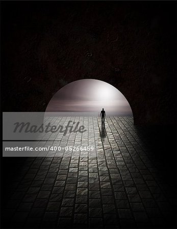 Mystery Man in Tunnel Stock Photo - Budget Royalty-Free, Image code: 400-05266459