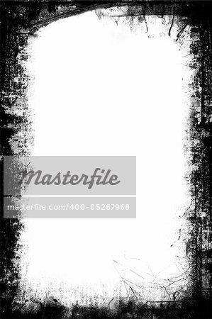 A black and white grunge frame with white background