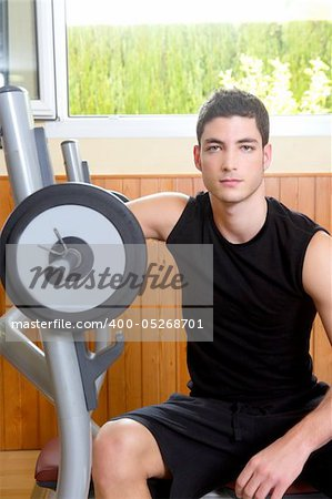 Gym young man posing body building weights black Stock Photo - Budget Royalty-Free, Image code: 400-05268701