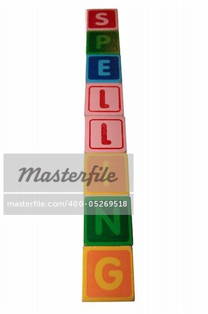 toy letters that spell spelling against a white background with clipping path Stock Photo - Budget Royalty-Free, Image code: 400-05269518