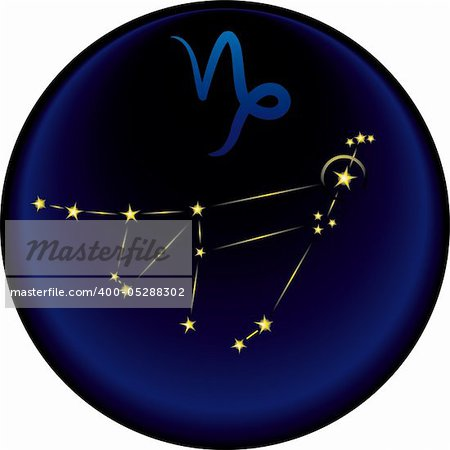 Capricorn constellation plus the Capricorn astrological sign Stock Photo - Budget Royalty-Free, Image code: 400-05288302