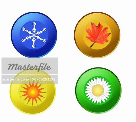 vector of colorful four seasons icons isolated on white Stock Photo - Budget Royalty-Free, Image code: 400-05293195