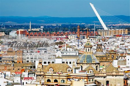 aerial view of Seville, Spain, with Almillo bridge in the background Stock Photo - Budget Royalty-Free, Image code: 400-05294580