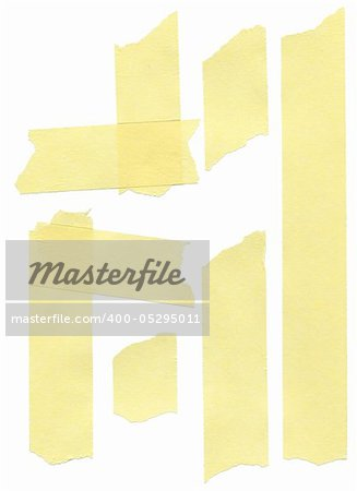set of yellow paper masking tapes on white background Stock Photo - Budget Royalty-Free, Image code: 400-05295011