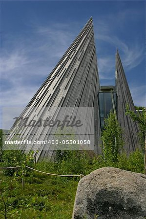 The Sami Parliament of Norway (Sámediggi) is the representative body for people of Sami heritage in Norway. The peaked structure of the Plenary Assembly Hall resembles the tipis the Sami used as a nomadic culture Stock Photo - Budget Royalty-Free, Image code: 400-05301058