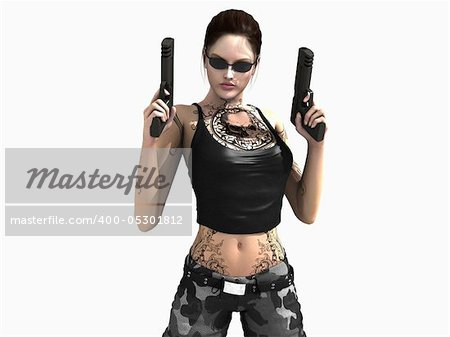 3d illustration of a soldier girl holding two guns Stock Photo - Budget Royalty-Free, Image code: 400-05301812