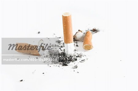 Quit smoking - cigarette butts, smoking concept, over white Stock Photo - Budget Royalty-Free, Image code: 400-05304909