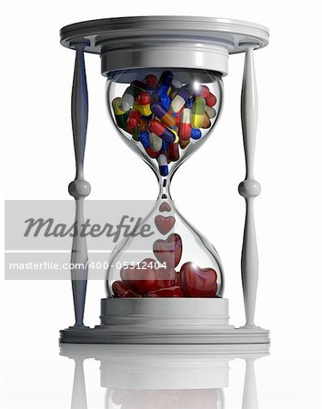 Sand watch with medical pills converting to hearts inside isolated on white background. Medicine continue lifetime conceptual image. Time heals. 3d Stock Photo - Budget Royalty-Free, Image code: 400-05312404