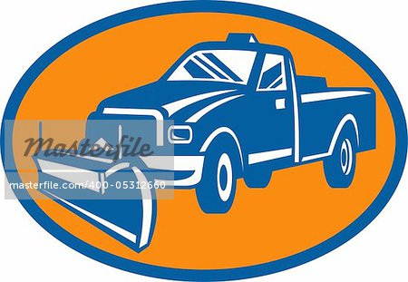 illustration of an icon with Snow plow pick-up truck inside oval Stock Photo - Budget Royalty-Free, Image code: 400-05312660