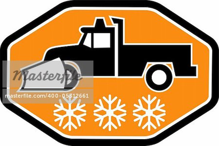 Imagery shows a Snow plow truck with snowflake in background inside heaxagon Stock Photo - Budget Royalty-Free, Image code: 400-05312661