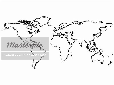 black world map outlines isolated on white, abstract art illustration Stock Photo - Budget Royalty-Free, Image code: 400-05312670