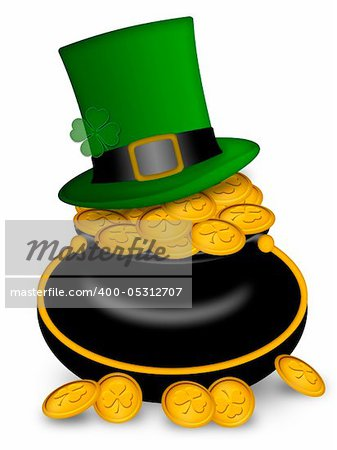 Saint Patricks Day Leprechaun Hat on Pot of Gold Coins Illustration Stock Photo - Budget Royalty-Free, Image code: 400-05312707