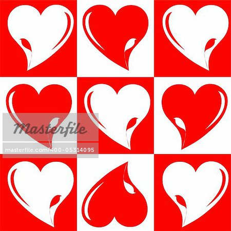 love wedding greeting hearts chess background with abstract bird.  vector illustration Stock Photo - Budget Royalty-Free, Image code: 400-05314095