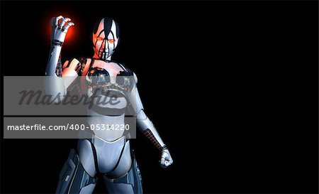 3d illustration of a cyborg character Stock Photo - Budget Royalty-Free, Image code: 400-05314220