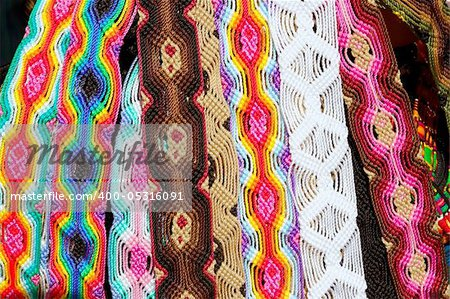 Chiapas Mexico handcrafts belts and bracelets colorful Stock Photo - Budget Royalty-Free, Image code: 400-05316091
