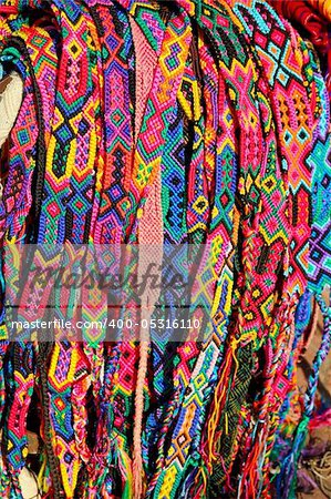 Chiapas Mexico handcrafts belts and bracelets colorful Stock Photo - Budget Royalty-Free, Image code: 400-05316110