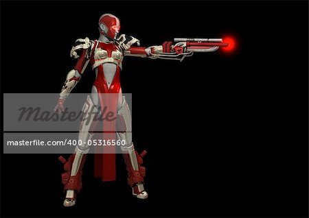 Advanced cyborg soldier, quality 3d render Stock Photo - Budget Royalty-Free, Image code: 400-05316560
