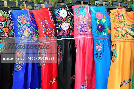 Mayan woman dress flowers embroidery Yucatan Mexico Stock Photo - Budget Royalty-Free, Image code: 400-05318691