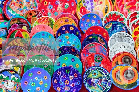 clay ceramic plates from Mexico colorful traditional handcraft Stock Photo - Budget Royalty-Free, Image code: 400-05318698