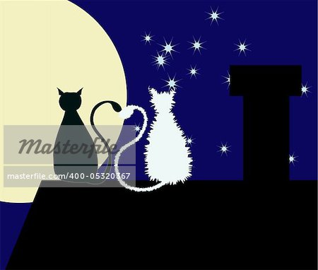 Two cats are sitting on the rooftop with their tails are heart-shaped. Stock Photo - Budget Royalty-Free, Image code: 400-05320367