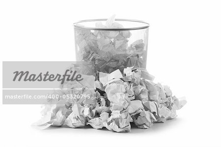 Garbage bin with paper waste isolated on white Stock Photo - Budget Royalty-Free, Image code: 400-05320795