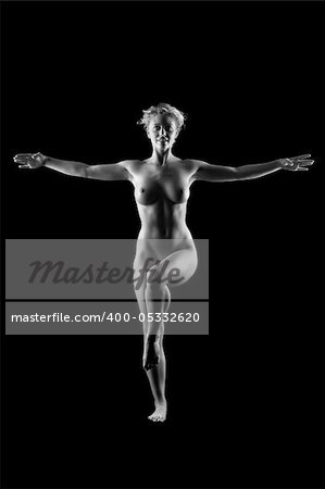 young blonde naked women on black background Stock Photo - Budget Royalty-Free, Image code: 400-05332620