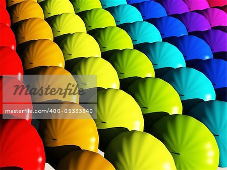 Umbrellas in rainbow hues Stock Photo - Budget Royalty-Free, Image code: 400-05333840
