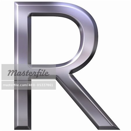 3d silver letter R isolated in white Stock Photo - Budget Royalty-Free, Image code: 400-05337861