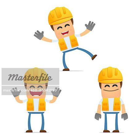 set of funny cartoon builder in various poses for use in presentations, etc. Stock Photo - Royalty-Free, Artist: artenot, Code: 400-05341960