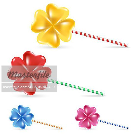 Spiral rainbow lollipop set - isolated on white background
