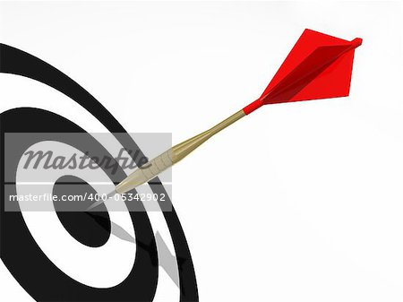 Dart on the black target. Concept for business success and marketing