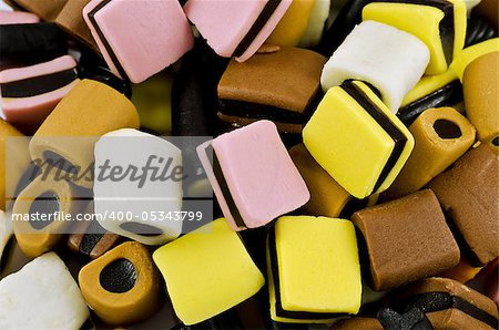closeup of licorice all sorts sweets Stock Photo - Budget Royalty-Free, Image code: 400-05343799