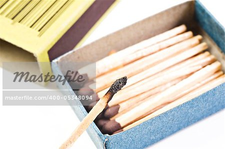 Open box of matches with one match burning Stock Photo - Budget Royalty-Free, Image code: 400-05348094