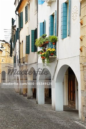 street in Italy, Padova, terrace with flowerpots and plants Stock Photo - Budget Royalty-Free, Image code: 400-05349125