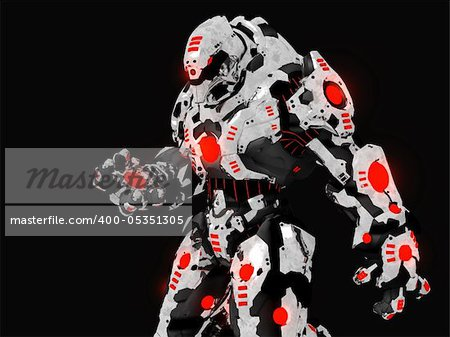 3d render of futuristic battle robot Stock Photo - Budget Royalty-Free, Image code: 400-05351305
