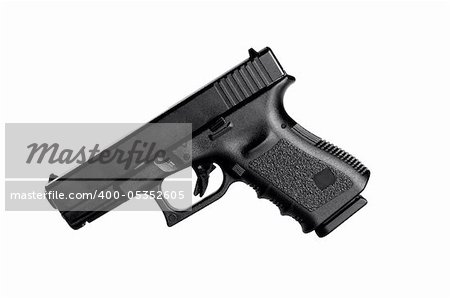 Image of a 40 caliber handgun on a white background Stock Photo - Budget Royalty-Free, Image code: 400-05352605